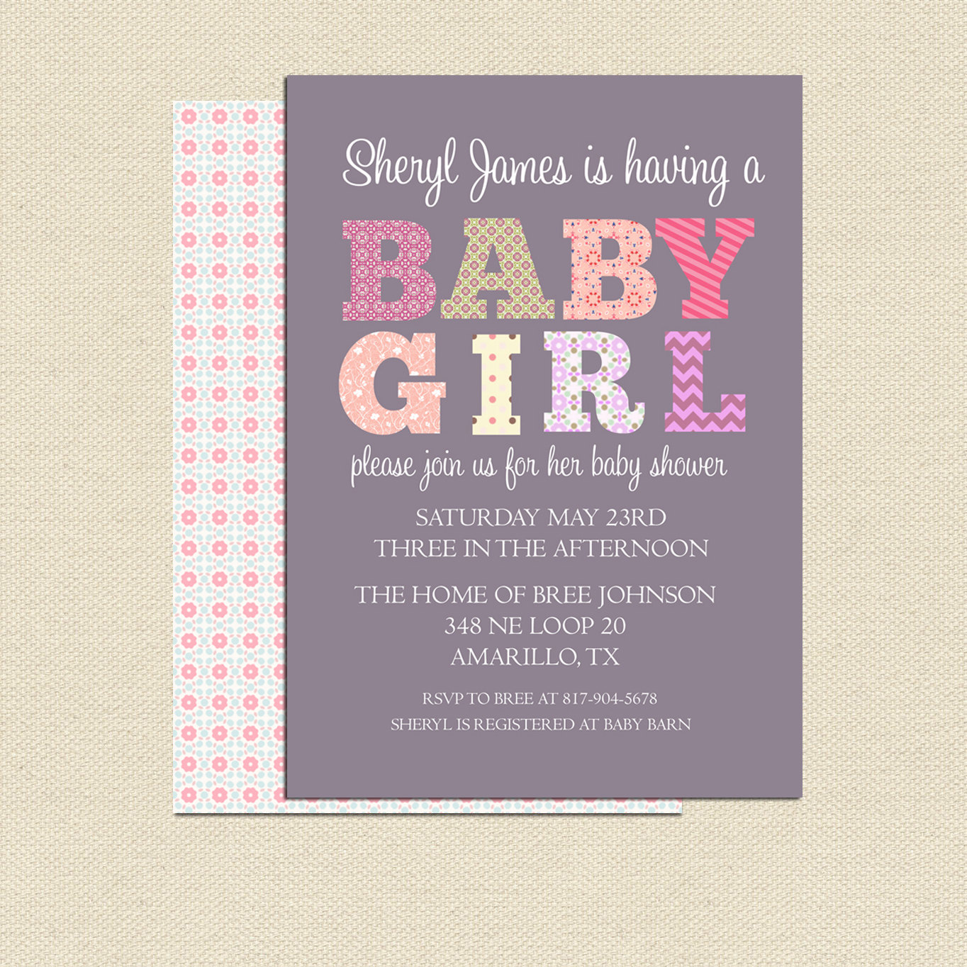 DIY Printable Baby Shower Invitation For Girl No.2 Colorful Purple